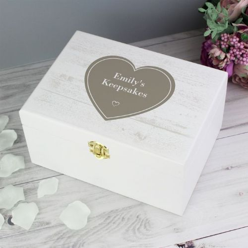 Personalised Rustic White Wooden Keepsake Box